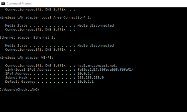 How to find an IP Address using command prompt